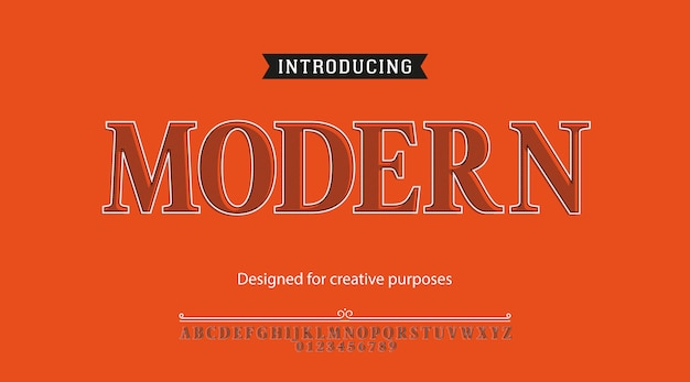 Modern typeface. font type with alphabet and numbers