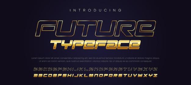 현대 타이포그래피 기울임 꼴 알파벳 황금 글꼴 세트