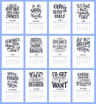 Modern typography lettering compositions for 2021 year calendar with funny motivation quotes.