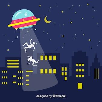평면 디자인으로 현대 ufo 납치 개념