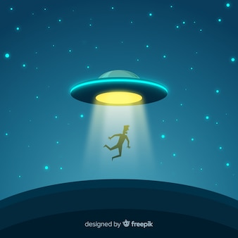 Modern ufo abduction concept with flat design