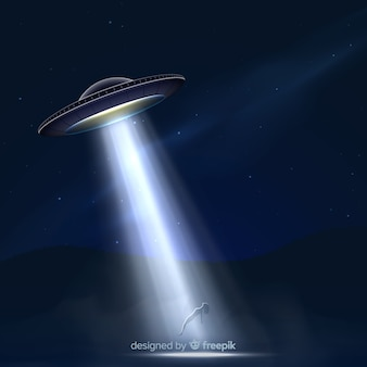Modern ufo abduction concept with realistic design