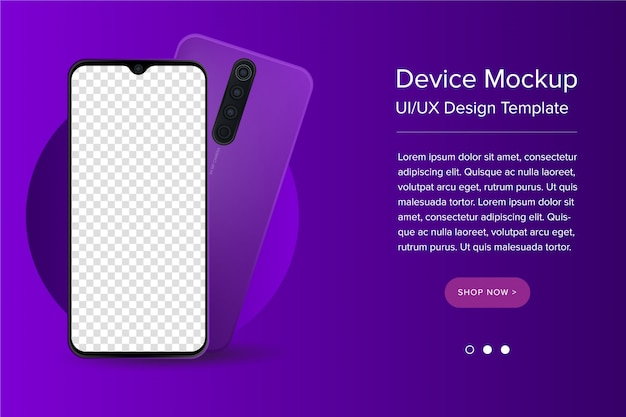 Modern ui/ux and smartphone template with blank screen