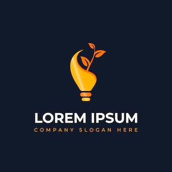Modern unique green energy light bulb logo concept with leaf and branches suitable for idea power and energy business
