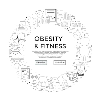 Modern unique style design  obesity and fitness flyer or banner landing page for medical site