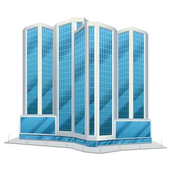 Orizzonte del giorno degli edifici alti del centro degli uffici del centro urbano della città di progettazione della torre di vetro urbana moderna