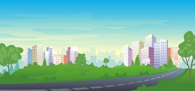 Modern urban landscape. cityscape view from scenery park landscape