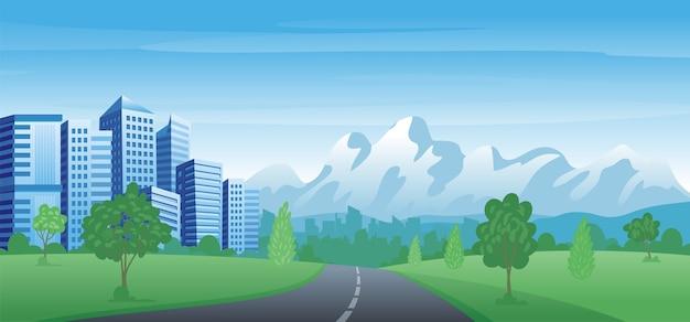 Modern urban landscape. cityscape  with scenery city park landscape