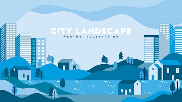 Modern urban landscape flat illustration