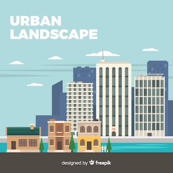 Modern urban landscape with flat design