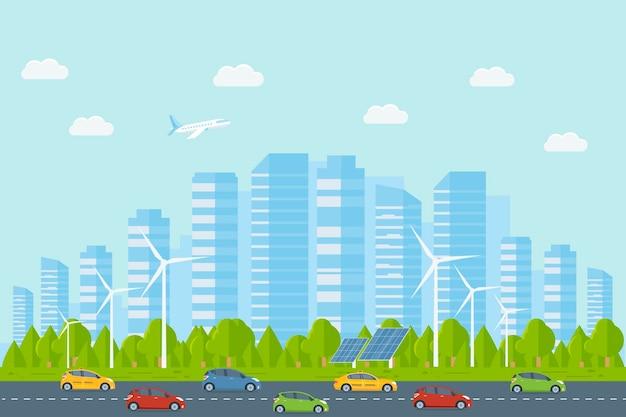 고층 빌딩이 있는 현대적인 도시 풍경. 거리, 자동차가 있는 고속도로, 배경에 큰 건물. 교외 생활과 도시 개념입니다. 평면 벡터 일러스트 레이 션.
