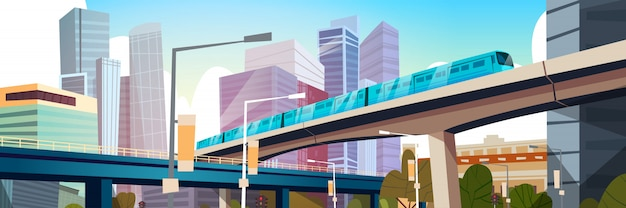 Modern urban panorama with high skyscrapers and subway city horizontal illustration