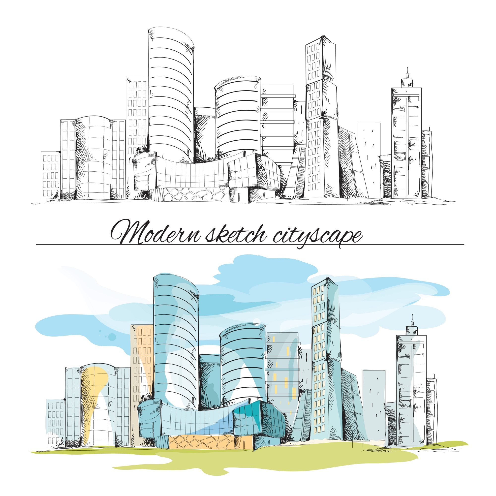 Modern urban sketch building hand drawn cityscape set vector illustration