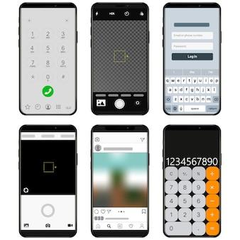 現代のユーザーインターフェイスux、モバイルスマートフォンのui画面テンプレート。