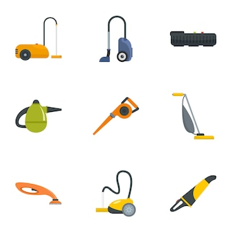 Modern vacuum cleaner icon set. flat set of 9 modern vacuum cleaner icons