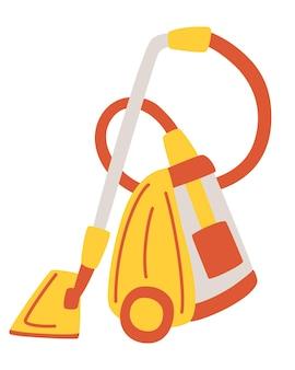 現代の掃除機。家庭用および専門家用掃除機。掃除用電気器具。孤立したフラットベクトルイラスト。