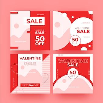 Collezione di post di vendita moderna di san valentino