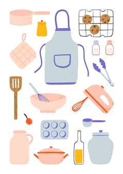 Modern various cute kitchen cooking utensils and baking elements illustration