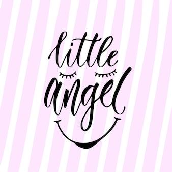 Современная векторная каллиграфия. маленький ангельский принт. рукописная фраза. дизайн футболки для детей