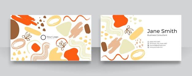 명함을 위한 손으로 그린 유기적 모양, 질감 및 그래픽 요소가 있는 현대적인 벡터 콜라주. 최신 유행의 깨끗하고 단순한 명함
