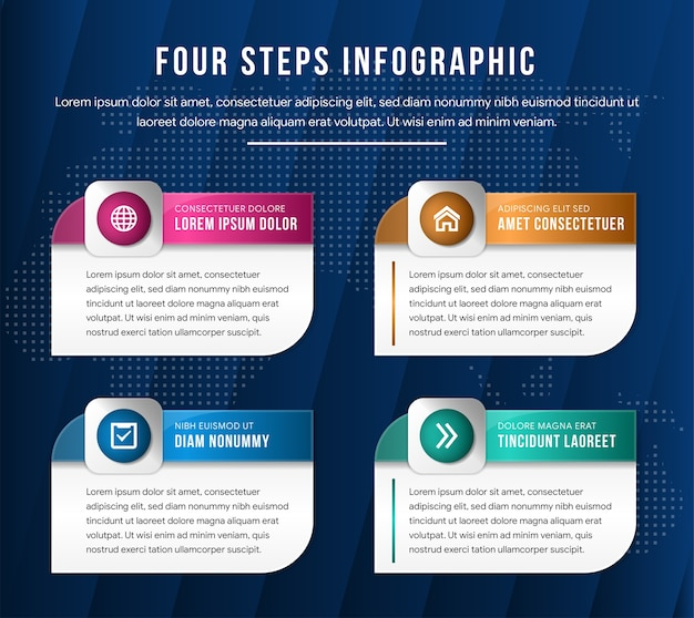 Modern vector illustration 3d. template of a rectangle with rounded corners infographic with two elements. designed for business diagrams with 4 steps