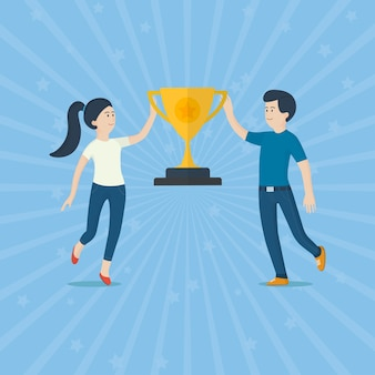 Modern vector illustration of businessman near a trophy. gold cup for financial profit. successful cute man and woman with a reward for perfect teamwork. business concept. illustration vector flat