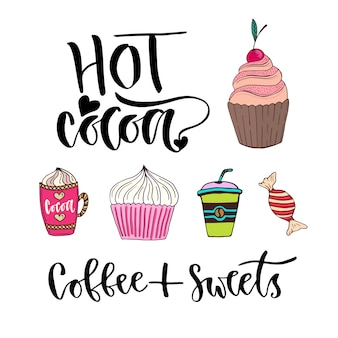 Modern vector lettering - hot cocoa. bright sweets and drinks stickers