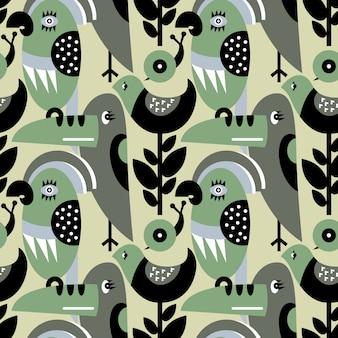 Современный вектор шаблон с птицами и растениями.