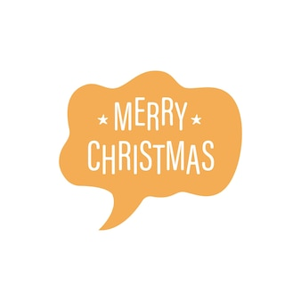 Modern vector quote merry christmas with speech bubble background isolated on white background
