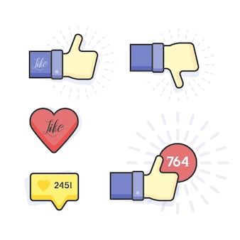 Modern vector set of thumb up and like icons.