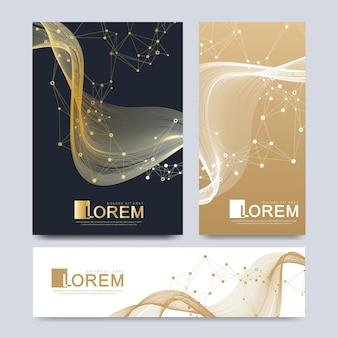 Modern vector template for brochure, leaflet, flyer, advert, cover, catalog, magazine or annual report. business, science, medical design. scientific cybernetic dots. lines plexus. card surface