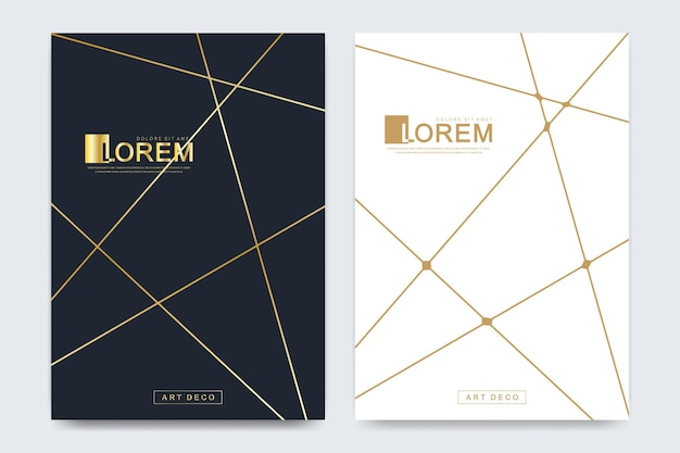 Modern vector template for brochure, leaflet, flyer, advert, cover, magazine or annual report in the a4 size. golden company style for brandbook and guideline. art deco style.
