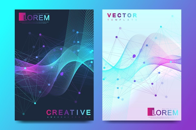 Modern vector template for brochure, leaflet, flyer, cover, banner, catalog, magazine, or annual report in a4 size. dna helix, dna strand, molecule or atom, neurons. wave flow. lines plexus