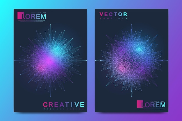 Modern vector template for brochure leaflet flyer cover banner magazine or annual report. a4 size. business, science, medicine, technology design book layout. abstract presentation with mandala.