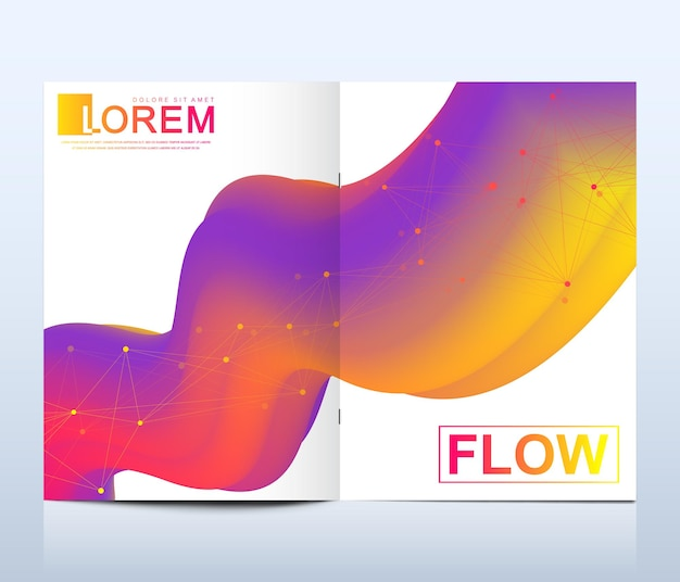 Modern vector template for brochure, leaflet, flyer, cover, catalog in a4 size. abstract fluid 3d shapes vector trendy liquid colors backgrounds set. colored fluid graphic composition illustration.