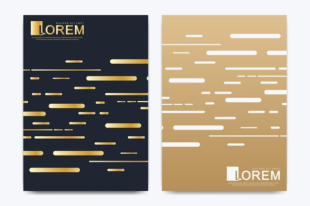 Modern vector template for brochure, leaflet, flyer, cover, catalog, magazine or annual report in a4 size. business, science and technology design book layout. presentation with golden waves.