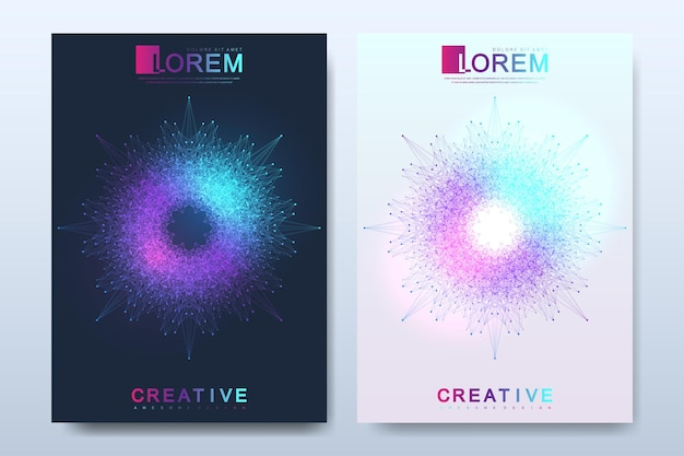 Modern vector template for brochure leaflet flyer cover catalog magazine or annual report in a4 size. business, science and technology design book layout. presentation with mandala. card surface.