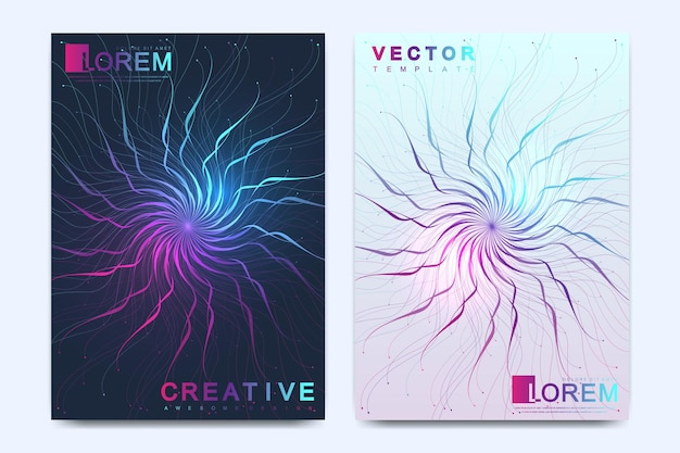 Modern vector template for brochure, leaflet, flyer, cover, catalog, magazine or annual report in a4 size. science and technology design book layout. presentation with circle molecule mandala.