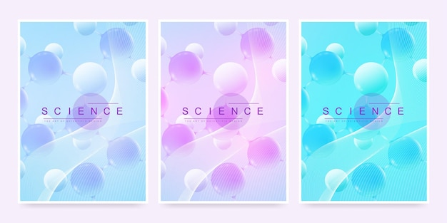 Modern vector template for brochure, leaflet, flyer, cover, magazine or annual report. a4 size with colorful abstract 3d molecules. atoms. neurons. medical banner. vector illustration.