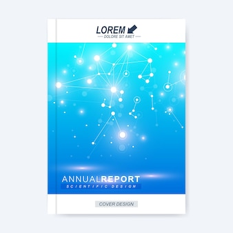 Modern vector template for brochure, leaflet, flyer, cover, magazine or annual report. molecular layout in a4 size. business, science, technology design book layout. scientific background presentation