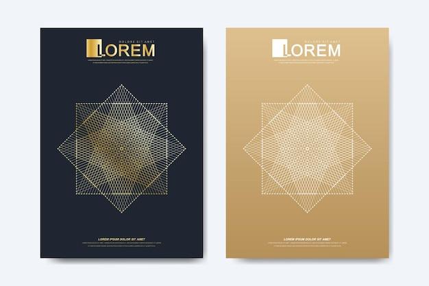 브로셔 전단지 전단지 광고 표지 잡지 또는 연례 보고서에 대 한 현대 벡터 템플릿. a4 사이즈. 비즈니스, 과학, 의료 디자인 책 레이아웃입니다. 황금 사이버네틱 점. 라인 신경총. 카드 표면.
