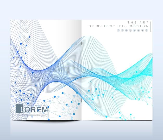 브로셔, 전단지, 전단지, 표지, 배너, 카탈로그, 잡지 또는 a4 크기의 연례 보고서를 위한 현대적인 벡터 템플릿입니다. dna 나선, dna 가닥, 분자 또는 원자, 뉴런. 파도의 흐름. 라인 신경총