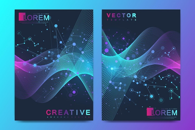 Современный векторный шаблон для брошюры, листовки, флаера, обложки, баннера, каталога, журнала или годового отчета в формате a4. спираль днк, цепь днк, молекула или атом, нейроны. волновой поток. линии сплетения