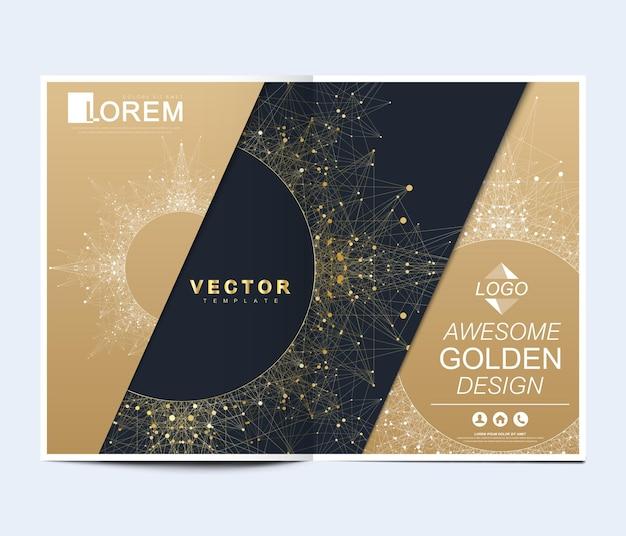 브로셔, 전단지, 전단지, 표지, 배너, 카탈로그, 잡지 또는 a4 크기의 연례 보고서를 위한 현대적인 벡터 템플릿입니다. 미래 과학 및 기술 디자인입니다. 만다라와 황금 프레젠테이션입니다.