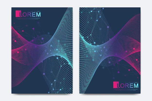 브로셔, 전단지, 전단지, 표지, a4 크기의 카탈로그를 위한 현대적인 벡터 템플릿입니다. dna 나선, dna 가닥, 분자 또는 원자, 뉴런. 과학 또는 의료 배경에 대한 추상 구조입니다.