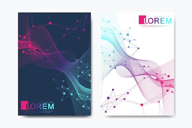 브로셔, 전단지, 전단지, 표지, a4 크기의 카탈로그를 위한 현대적인 벡터 템플릿입니다. dna 나선, dna 가닥, 분자 또는 원자, 뉴런. 과학 또는 의료 배경에 대한 추상 구조