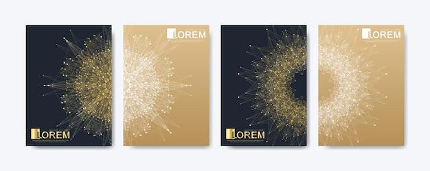 브로셔 전단지 전단지 표지 카탈로그 잡지 또는 연례 보고서에 대한 현대 벡터 템플릿. a4 크기의 황금 레이아웃. 비즈니스, 과학 및 기술 디자인 책 레이아웃입니다. 만다라를 사용한 프레젠테이션.