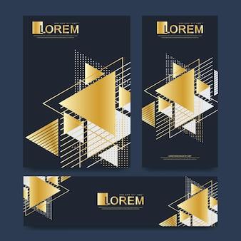 브로셔 전단지 전단지 표지 카탈로그 잡지 또는 a4 크기의 연례 보고서를 위한 현대적인 벡터 템플릿. 황금 스타일에 삼각형 추상적인 기하학적 배경입니다. 카드 표면