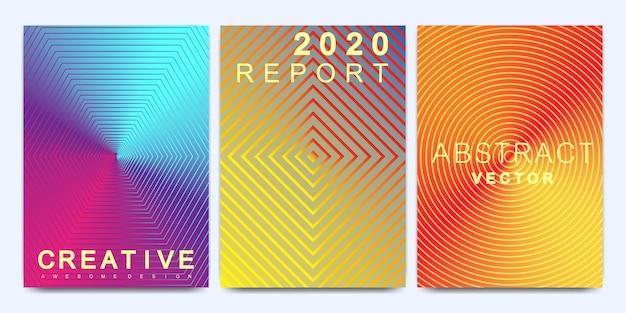 A4サイズのパンフレット、リーフレット、チラシ、表紙、カタログ、雑誌、または年次報告書の最新のベクターテンプレート。線のテクスチャとグラデーションの明るい抽象的なパターンの背景