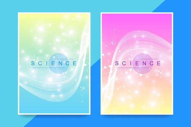 パンフレット、リーフレット、チラシ、表紙、雑誌、年次報告書の最新のベクターテンプレート。カラフルな抽象的な分子を持つa4サイズ。原子。ニューロン。医療バナー。ベクトルイラスト。